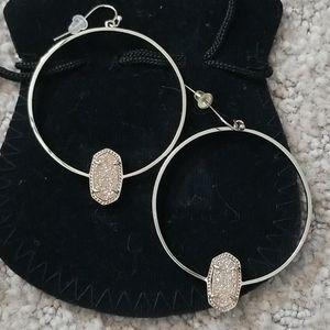 Kendra Scott Gold Hoop Iridescent Drusy Earrings